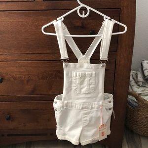 White jean overalls